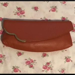 Beautiful Vintage Brown Soft Leather Clutch Bag